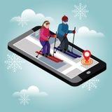 Isometric mężczyzna i kobiety narciarstwo Przecinającego kraju narciarstwo, zima sport Olimpiady, rekreacyjny styl życia, aktywno zdjęcia stock