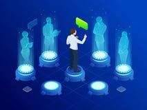 Isometric mężczyzna komunikuje z abstrakcjonistycznymi futurystycznymi parawanowymi hologramami biznes przewodniczy konferencyjne ilustracji