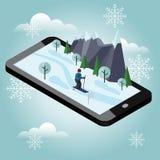 Isometric mężczyzna narciarstwo Mobilna nawigacja Wideo i fotografie keeped w telefon pamięci Przecinającego kraju narciarstwo, z zdjęcie royalty free