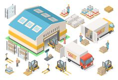 Isometric magazynowy ikona set, plan, logistycznie pojęcie