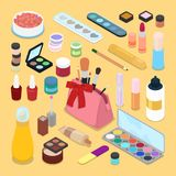 Isometric Make-up Cosmetics Products. Lipstick Mascara Nail Polish Brush Stock Images
