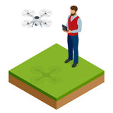 Isometric man with drone quadrocopter, Remote aerial drone with a camera taking photography or video recording. game. Sevremennaya, isometrics businessman. On a Stock Photos