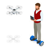 Isometric man with drone quadrocopter, Remote aerial drone. Isometric man with drone quadrocopter, Remote aerial drone with a camera taking photography or Stock Image