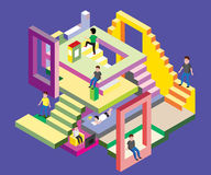 Isometric man in levels, Vector Illustration Royalty Free Stock Photos
