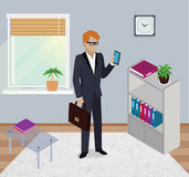 Isometric Man Office Work Interior Design Royalty Free Stock Photo