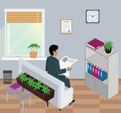 Isometric Man Reading Newspaper Design Flat. 3D man with newspaper, reader read newspaper, young man sit, business man read article, businessman reading, daily Stock Photos