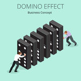 Isometric Man Start domino effect a and Chain reaction concept. Business metaphor. Business solution and helping Stock Photography