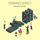 Isometric Man Start domino effect a and Chain reaction concept. Business metaphor. Business solution and helping. Business themes Stock Photos