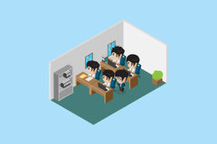 Isometric manager guide his team to do a good work, office and business concept Royalty Free Stock Images