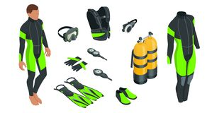 Free Isometric Mans Scuba Gear And Accessories. Equipment For Diving. IDiver Wetsuit, Scuba Mask, Snorkel, Fins, Regulator Stock Photo - 147322530
