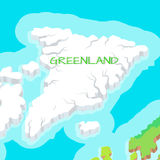Isometric Map of Greenland Detailed Illustration. Royalty Free Stock Photos