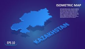 Isometric map of the KAZAKHSTAN. Stylized flat map of the country on blue background. Modern isometric 3d location map stock illustration