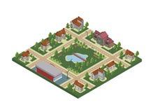 Isometric mapa miasteczko lub chałupy wioska Intymni domy, drzewa, staw i jezioro, Wektorowa ilustracja, odizolowywająca dalej royalty ilustracja