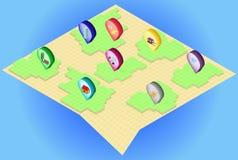 Isometric mapa z isometric szpilkami na nim Zdjęcie Stock