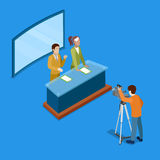 Isometric Mass Media Concept with Live Newsroom. Vector illustration vector illustration