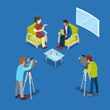 Isometric Mass Media Concept with Newsroom and Video Operator. Vector illustration royalty free illustration