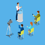 Isometric Mass Media Concept with Reporters and Conference Room Royalty Free Stock Images