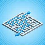 Isometric maze, labyrinth solution concept on a blue radial background.  Stock Photography