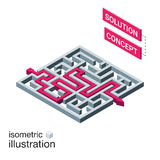 Isometric maze, labyrinth solution concept. Vector illustration Royalty Free Stock Photos
