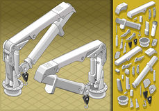 Isometric mechanical arm in two positions Royalty Free Stock Image