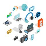 Media icons set, isometric 3d style. Isometric media icons set. Universal media icons to use for web and mobile UI, set of basic media elements isolated vector Stock Image