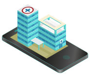 Isometric medical building in mobile phone. Pharmacy pictogram. Infographic element. Stock Photos