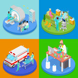 Isometric Medical Clinic. Health Care Concept. Hospital Room, Ambulance Emergency Service, MRI. Vector flat 3d illustration Stock Photography