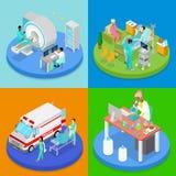 Isometric Medical Clinic. Health Care Concept. Hospital Room, Ambulance Emergency Service, MRI Stock Photography