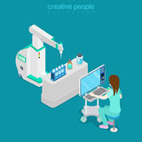 Isometric medical hospital computer doctor Flat 3d Royalty Free Stock Images