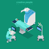 Isometric medical hospital computer doctor Flat 3d Royalty Free Stock Photo