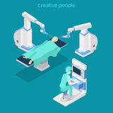 Isometric medical hospital computer doctor Flat 3d Royalty Free Stock Image