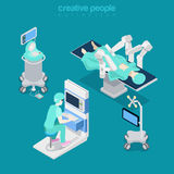 Isometric medical hospital computer doctor Flat 3d Stock Image