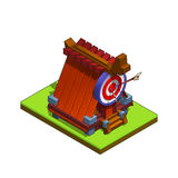 Isometric medieval archers building for game  on white background. Royalty Free Stock Image