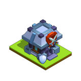 Isometric medieval warriors building for game  on white background. Stock Image