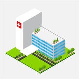 Isometric medium Hospital healty and medical center. Isometric medium hospital buiding, health and medical, isolated on white background vector illustration Royalty Free Stock Photography
