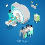 Isometric Medyczny MRI przeszukiwacza zobrazowania proces z lekarką i pacjentem ilustracji