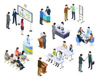 Isometric meeting. Business people on presentation conference. Team work process at table. 3d businessmen training. Vector set. Isometric meeting and conference stock illustration