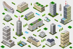Isometric Megalopolis Building Collection Stock Images