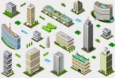 Isometric Megalopolis Building Set Royalty Free Stock Photos