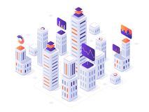 Isometric megalopolis infographic. City buildings, futuristic urban and town business office district metrics 3d vector. Isometric megalopolis infographic. City royalty free illustration