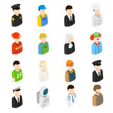 Isometric men of 16 different professions Royalty Free Stock Photo