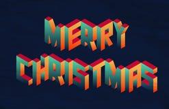 Isometric Merry Christmas quote background Stock Photos