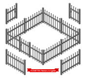 Isometric metal fence and gate. Constructor. Metallic lattice on white. Vector illustration vector illustration
