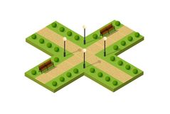 Isometric metropolis city. Park with streets and trees. Urban landscape top view Royalty Free Stock Images