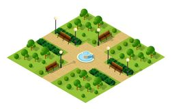 Isometric metropolis city. Park with streets and trees. Urban landscape top view Stock Photography