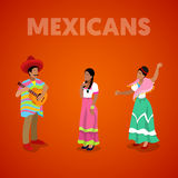 Isometric Mexican People in Traditional Clothes stock illustration
