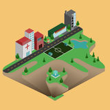 Isometric miasteczko Obraz Royalty Free