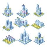 Isometric miasto architektura, pejzażu miejskiego budynek, krajobrazu drapacz chmur, ogrodowy i biurowy Budynki dla 3d ulicznej m ilustracja wektor