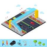 Isometric miasto City Road z Zwyczajnego mosta i bicyklu ścieżką royalty ilustracja