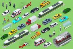 Isometric miasto transport z frontowymi i tylnymi widokami Tramwaj, samolot, helikopter, bicykl, sedan, samochód dostawczy, ładun royalty ilustracja